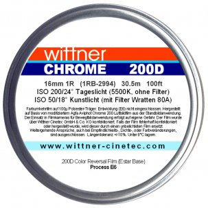 01 - Wittner Chrome 200D Agfa Aviphot Couleur - 16mm - 1 Perforation {JPEG}
